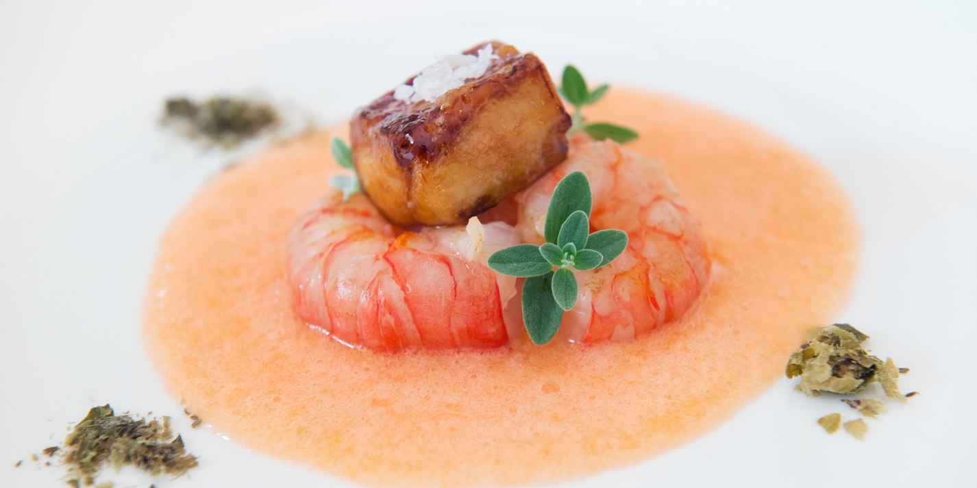 Prawns with foie gras, melon gazpacho and dehydrated capers