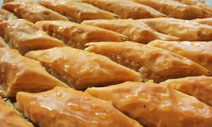 Baklava in tray