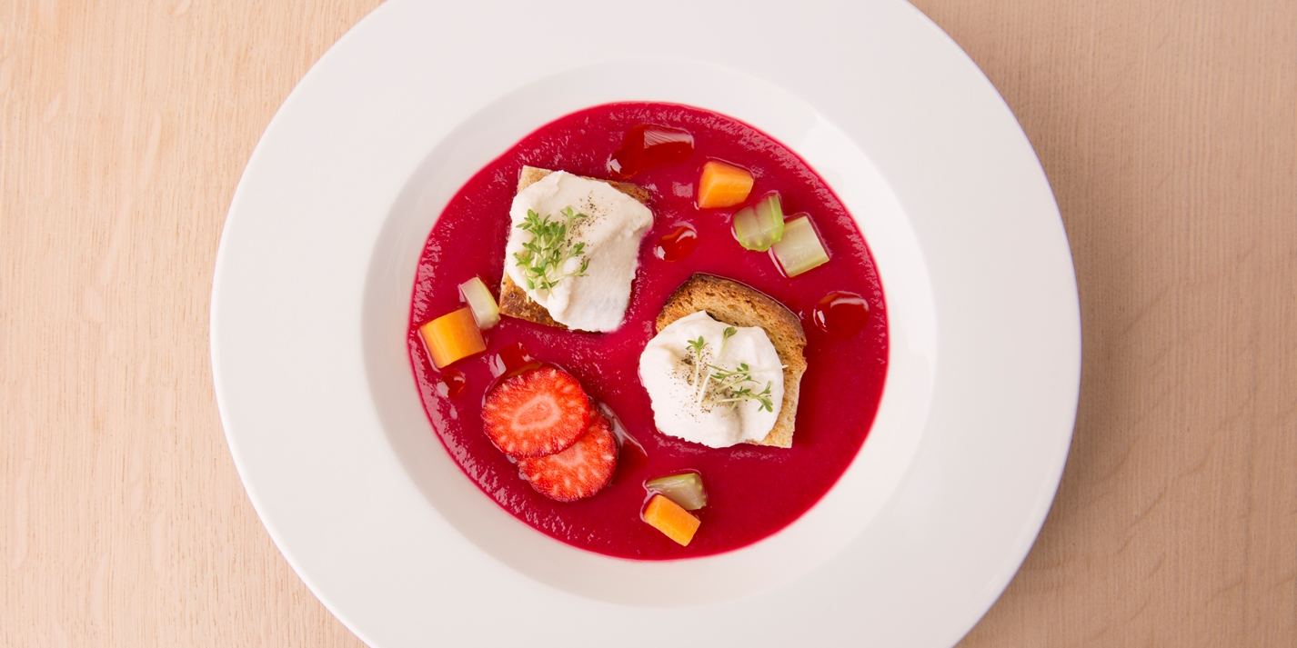 Healthy gazpacho with fermented vegetables