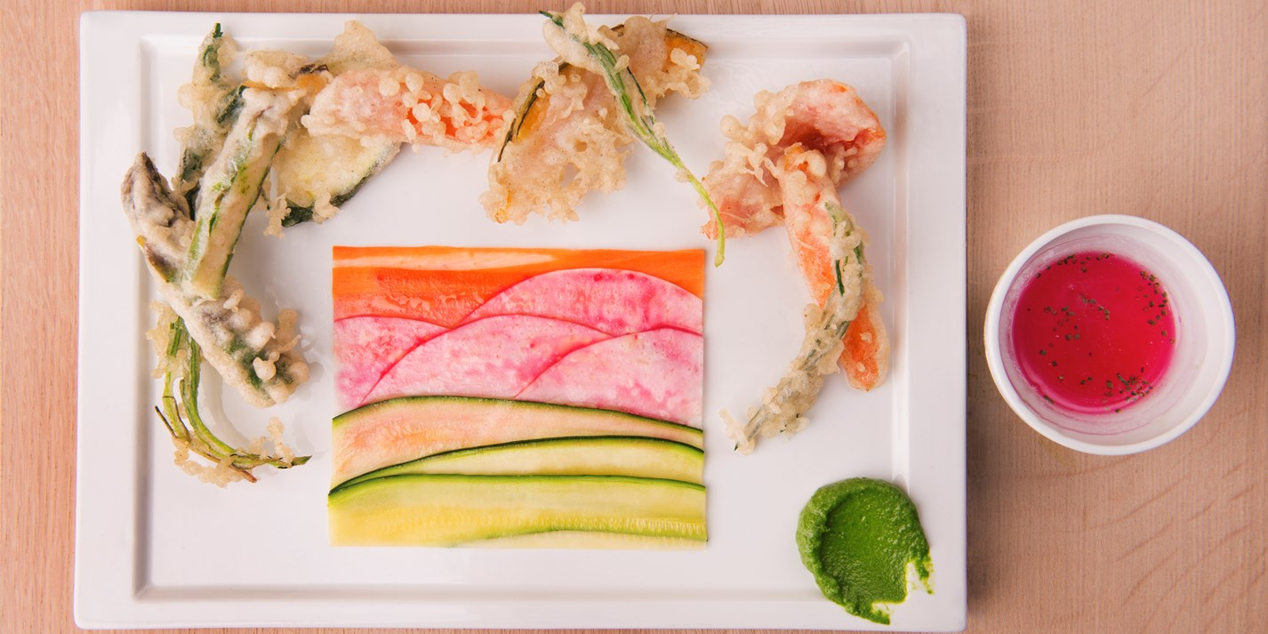 Tempura vegetables with paper of raw vegetables