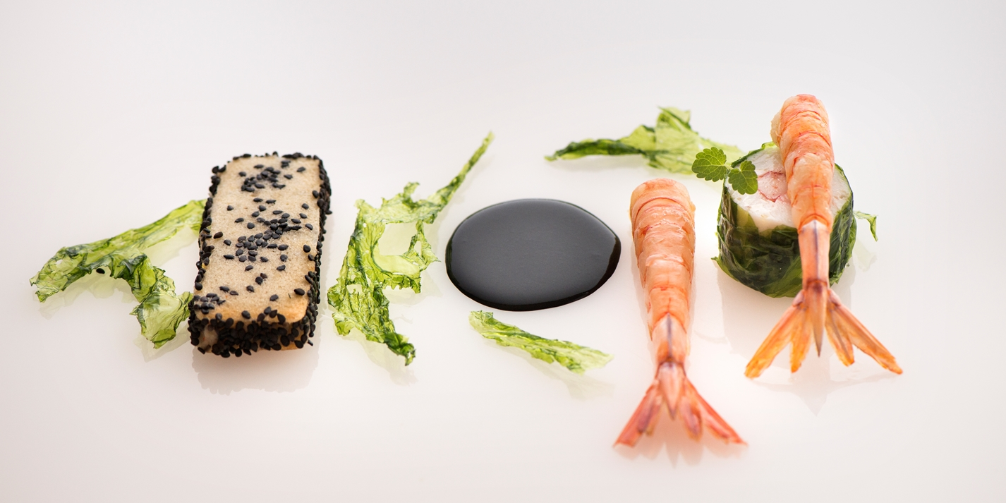 Red prawn, cuttlefish and sea lettuce