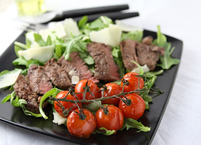 Steak tagliata with roasted Piccolo vine tomatoes