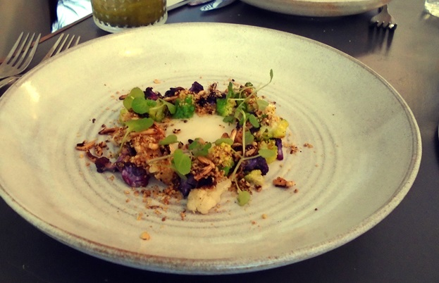 Barbecued cauliflower, puffed wild rice dukkah and watercress
