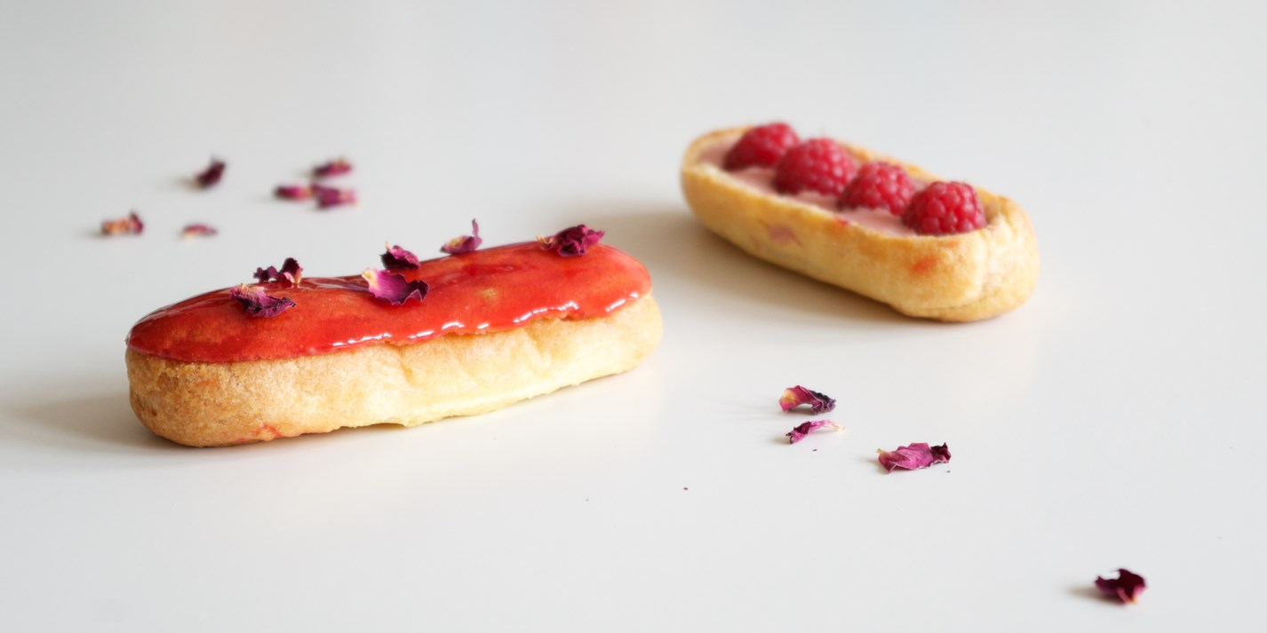 Raspberry and rose éclairs