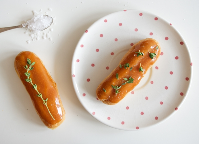 Salted caramel and lemon thyme éclairs