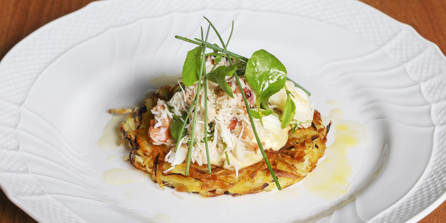 Portland crab rosti with land cress and chives