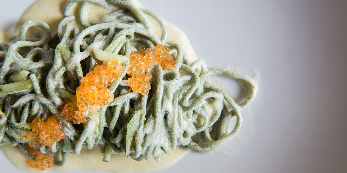 Spaghettini with herbs and 'battuda di malga'