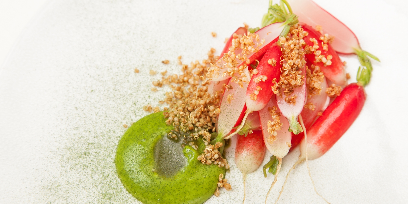 Pickled radishes - Pickled radish, dill emulsion, puffed quinoa