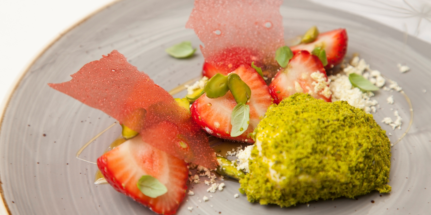 Macerated strawberries, yoghurt parfait, pistachio, basil