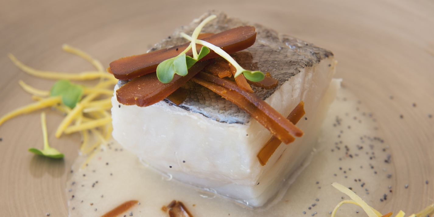 Confit cod with onion sauce and mullet roe