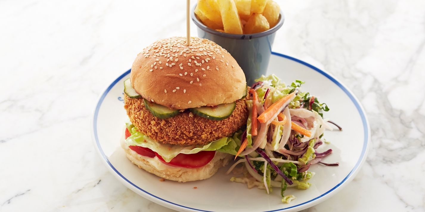 Chickpea and coriander veggie burger with chips and coleslaw