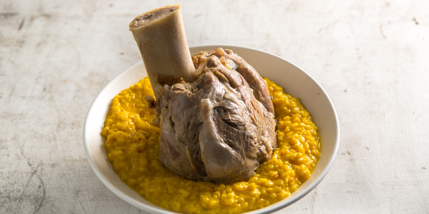 Braised veal shank with risotto Milanese