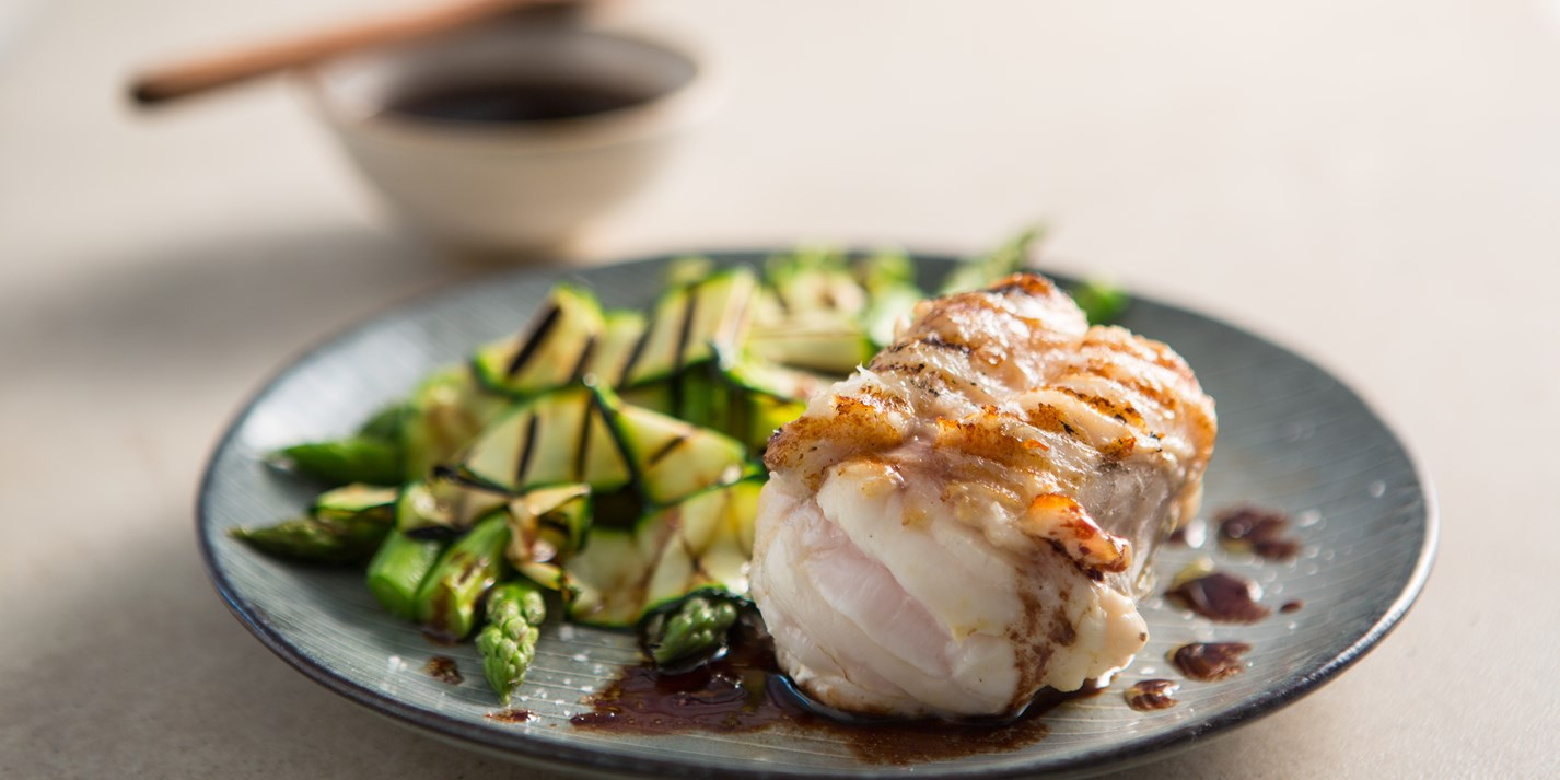 Grilled monkfish with red wine sauce