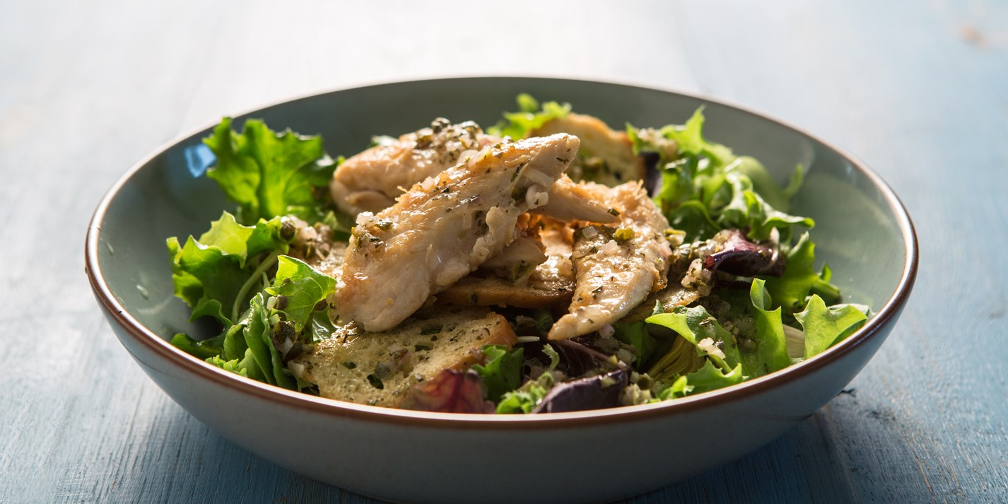 Warm lemon and rosemary chicken salad with a shallot and caper dressing