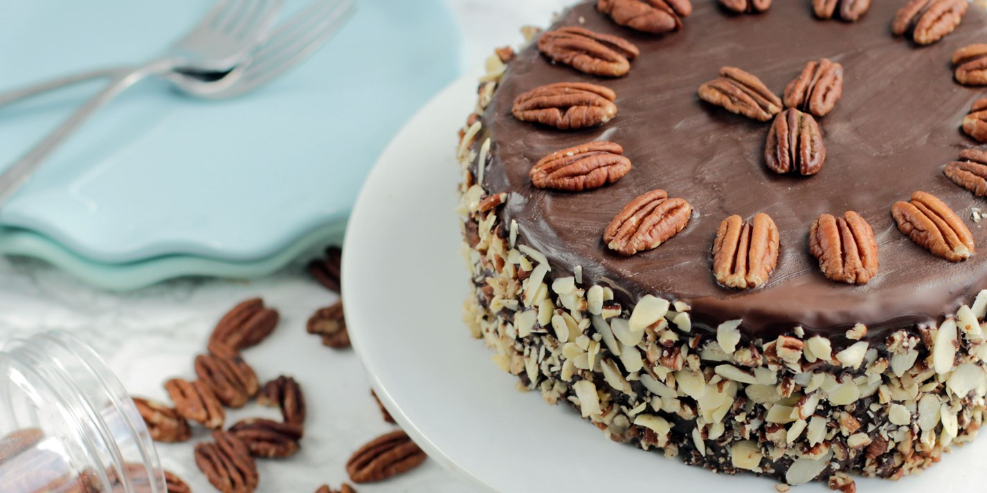 Dairy- and gluten-free chocolate and pecan brownie cake