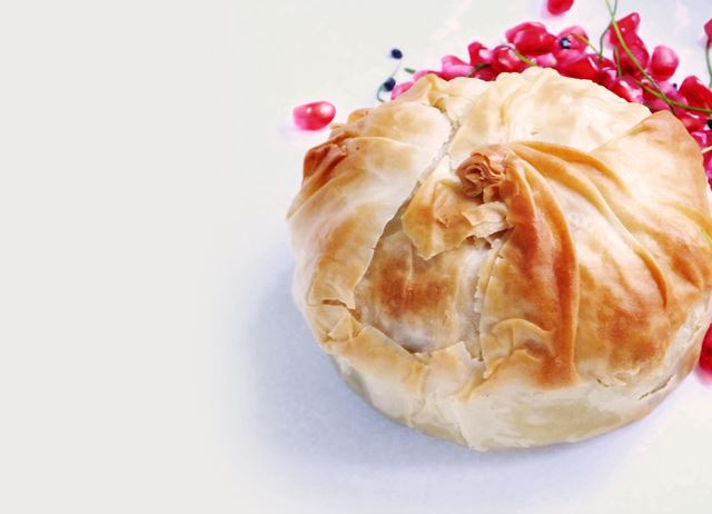 Slow-cooked chicken and pomegranate pies