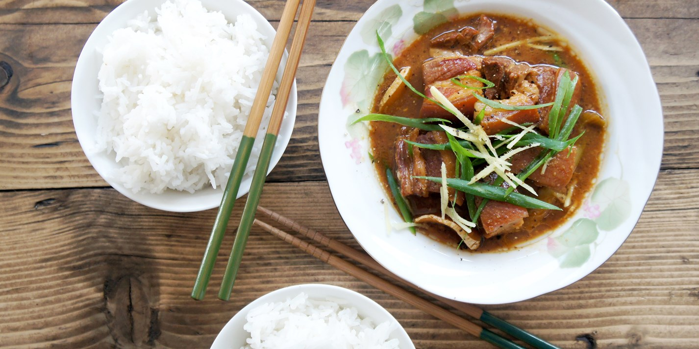 Miso and ginger braised pork belly