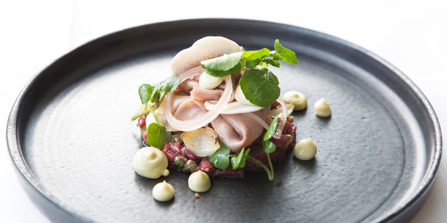 Salad of beef tartar, slow cooked ox tongue and smoked mayonnaise