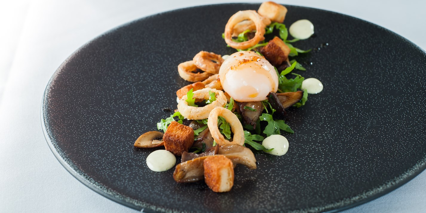 Salad of wild mushrooms and slow cooked duck egg