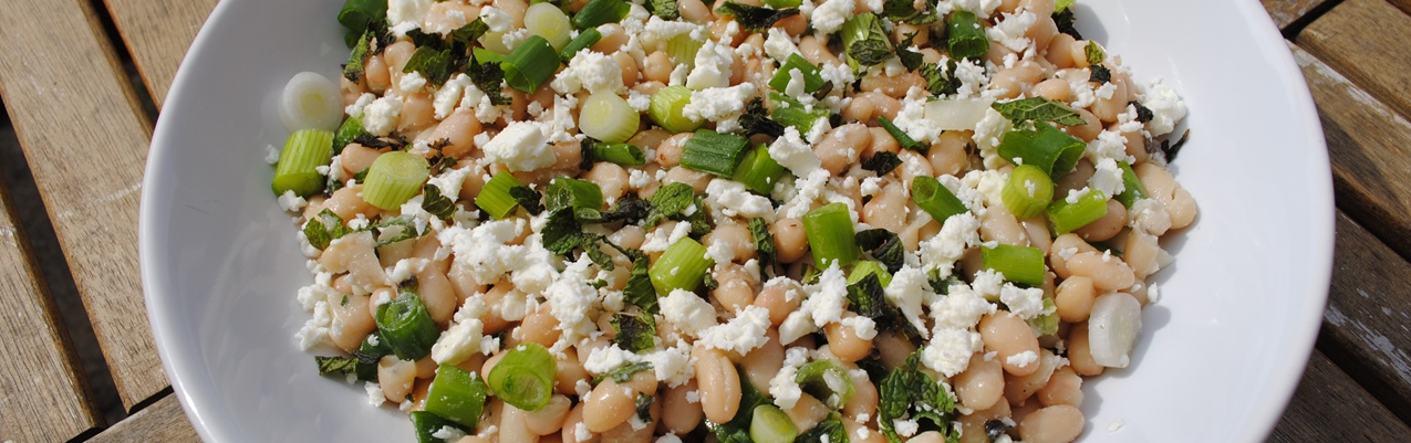 White Bean, Feta and Mint Salad