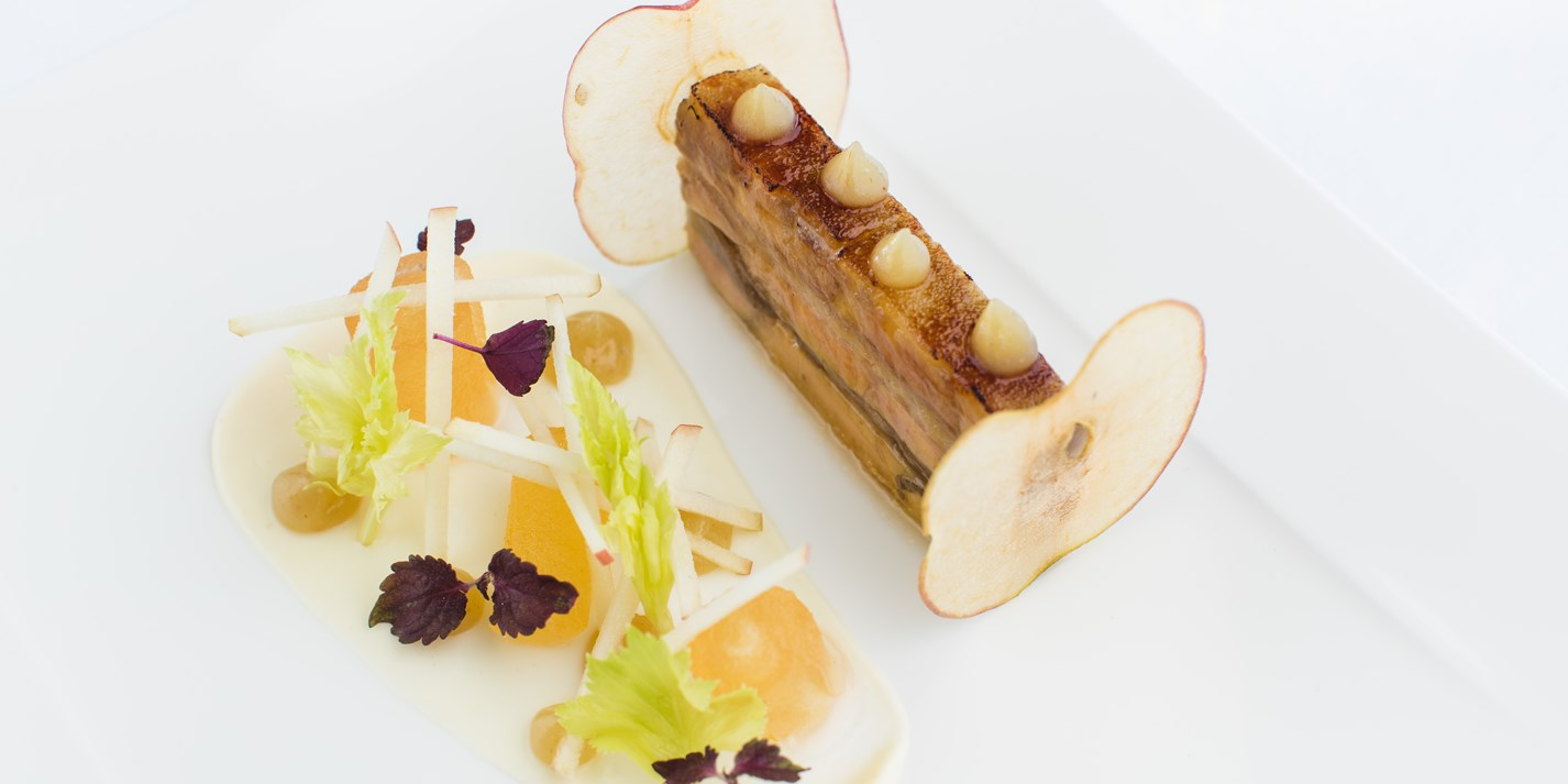 Terrine of smoked eel and foie gras, apple confit, celeriac