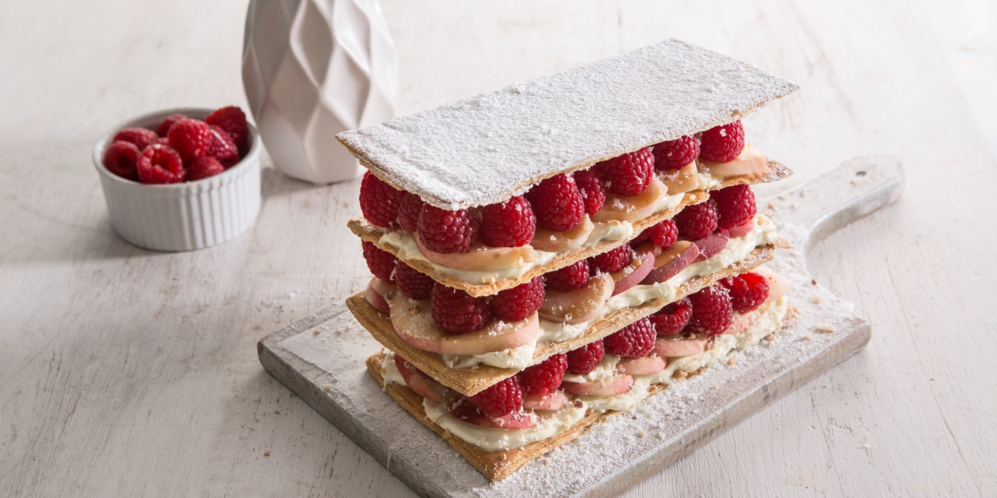 Mille-feuille of peach and raspberry with a citrus cream