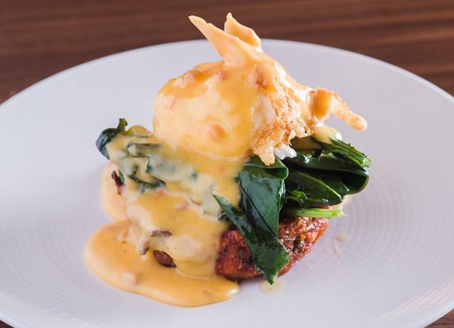 Kashmiri masala with crispy egg and miso hollandaise
