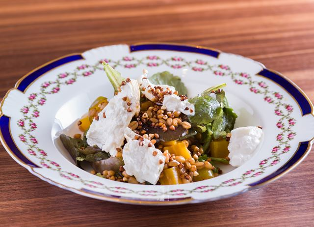 Smoked burrata with golden beetroot, grains and pickled greengages