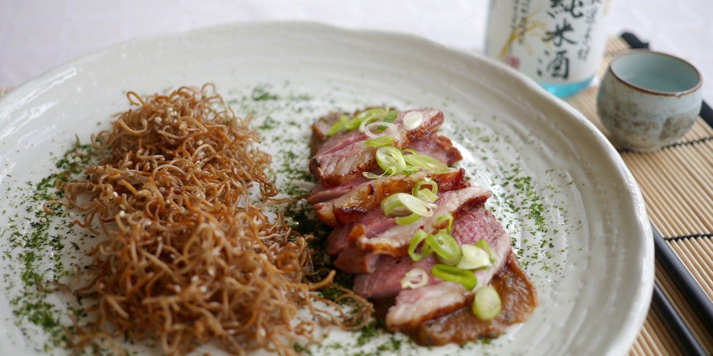 Sake Marinated Lamb Rump, Aubergine and Miso Purée and Crispy Sesame Soba Noodles