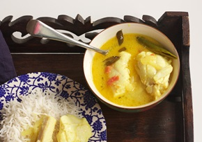 South East Asian fish molee with curry leaves and coconut milk