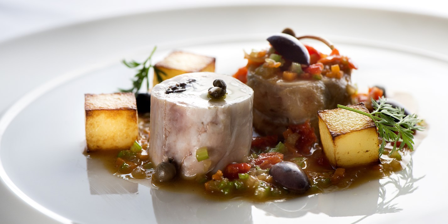 Rabbit, olives, capers, dried tomatoes, potatoes