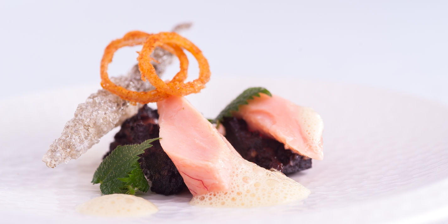Black Pudding & Buttered Pink Trout, Mustard & Nettle Sauce