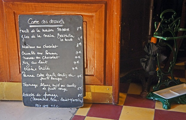 Paris bistro menu