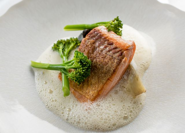 Sea trout with scallop tortellini, Tenderstem broccoli and scallop velouté