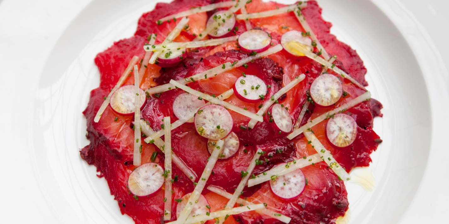 Beetroot-marinated salmon with radish salad