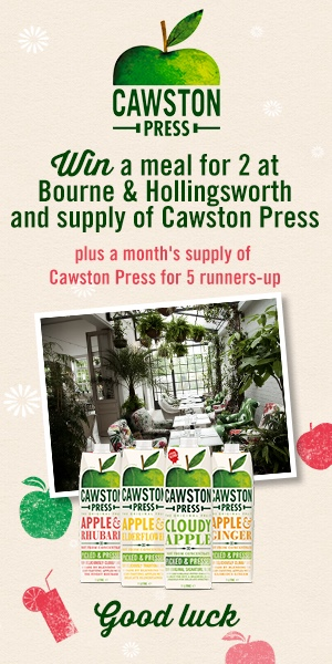 Win dinner at Bourne & Hollingsworth plus a month's supply of Cawston Press