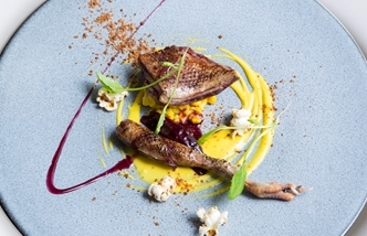 Chargrilled Anjou pigeon, Sweetcorn, Shallot, Bacon Popcorn