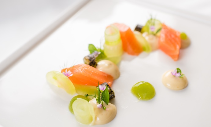 Laphroaig whisky-cured salmon gravadlax cucumber, tonka bean