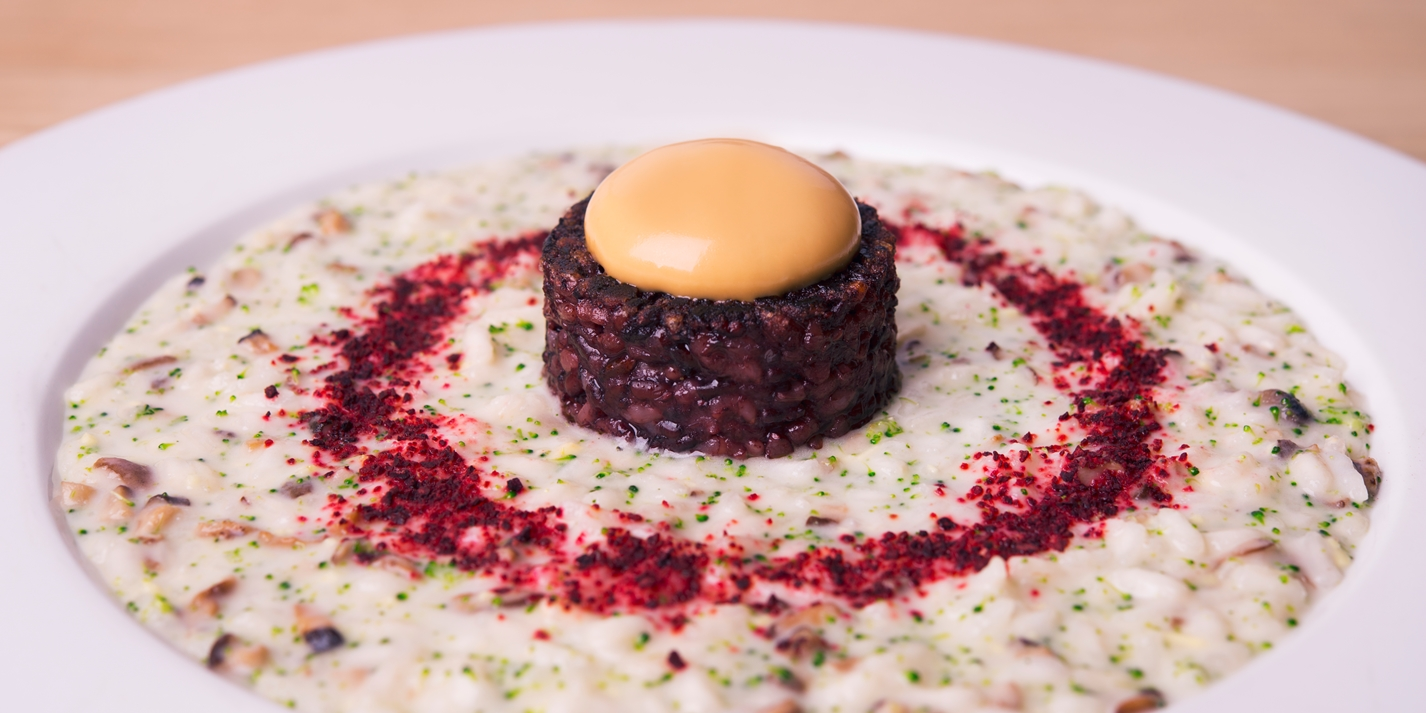 'The centre of the world' – risotto with ginger, shitake mushroom, daikon and miso sauce
