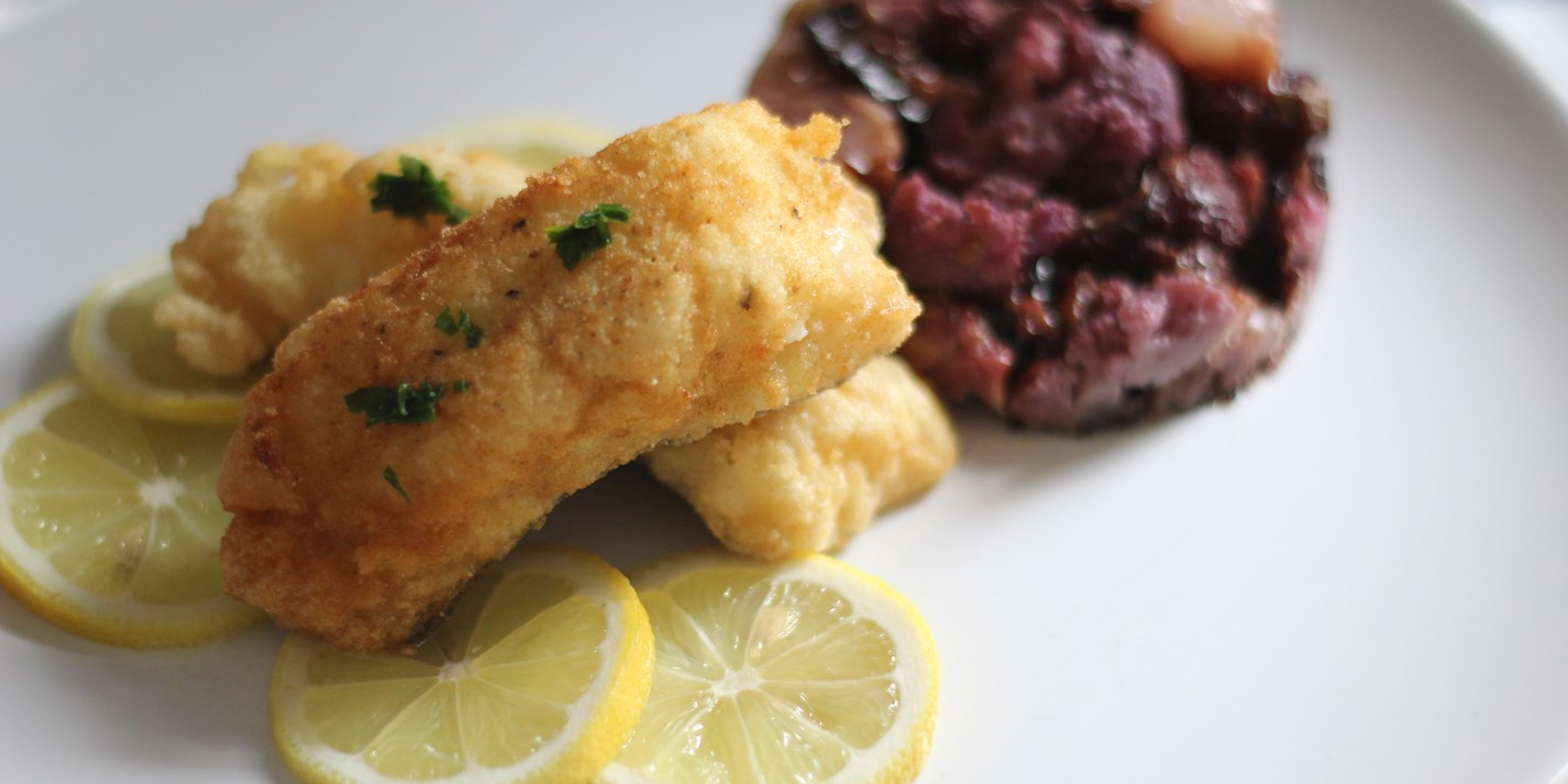 Fried cod with cauliflower 'affogato' recipe
