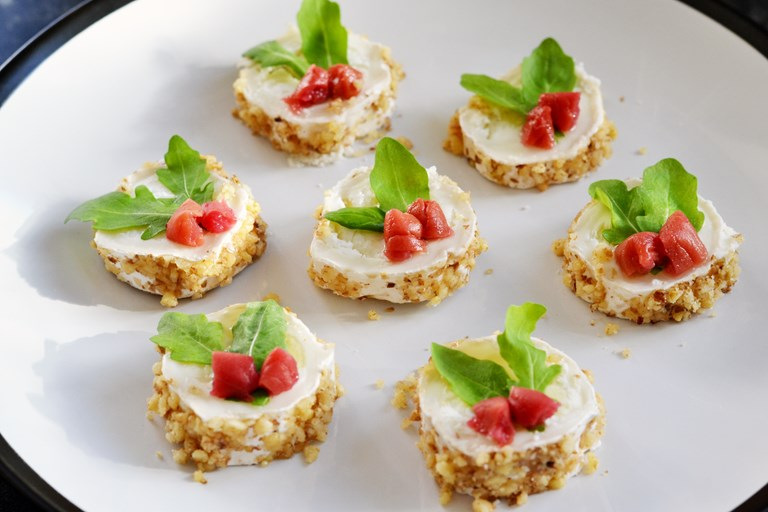 Goat 39 s cheese canap recipe great british chefs for Cream cheese canape