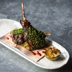 Tea smoked barbecued lamb chops with spicy korean miso