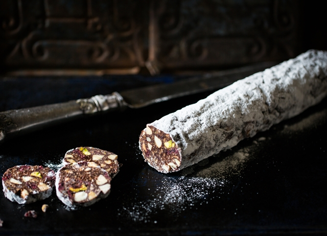 Cranberry and amaretto chocolate salami
