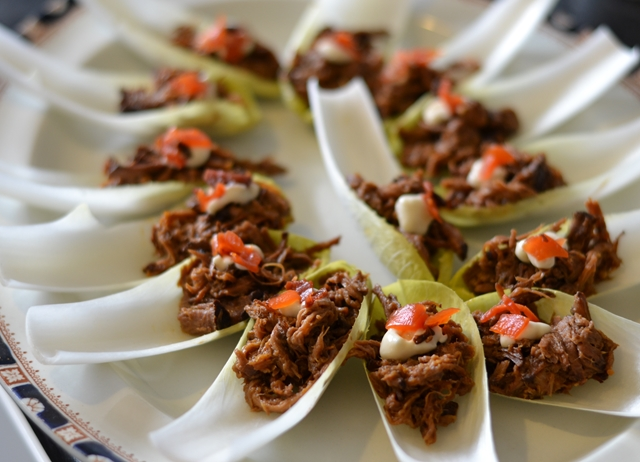 Pulled beef canap with fukujinzuke recipe great british for Hot canape ideas
