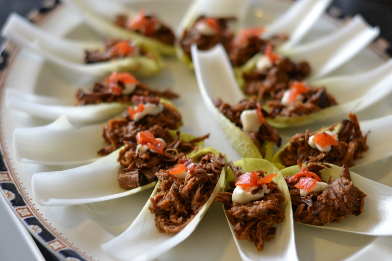 Pulled beef canap with fukujinzuke recipe great british for Beef horseradish canape