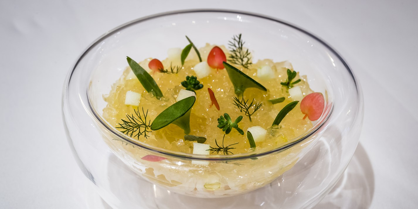 Devonshire crab, smoked haddock and Granny Smith apple