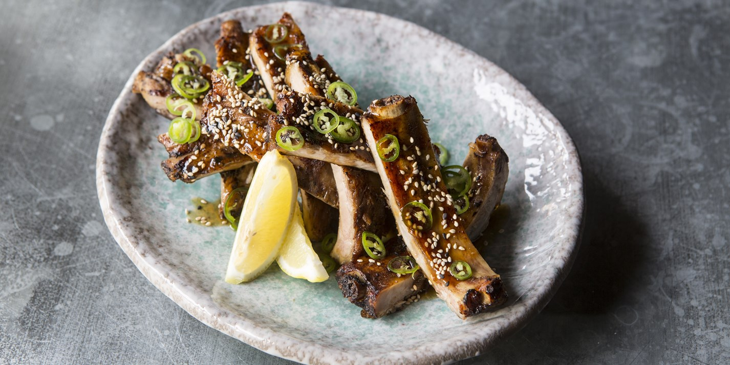 Robata pork ribs with honey soy ginger glaze
