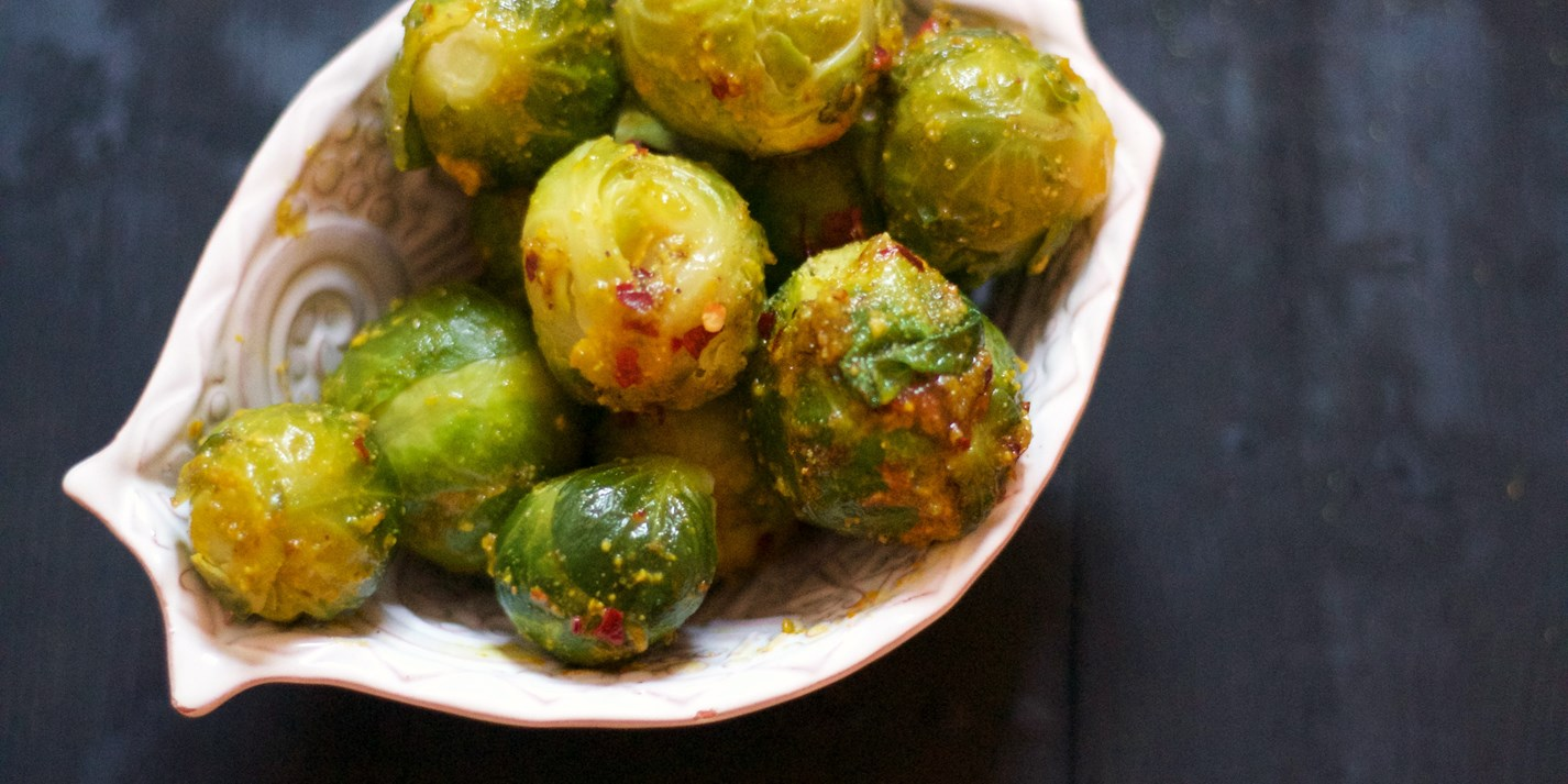 Saffron and pistachio butter Brussels sprouts