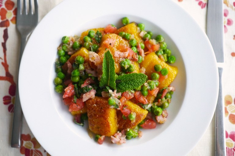 Gluten Free Golden Beetroot Gnocchi with Pea, Bacon, Tomato & Mint