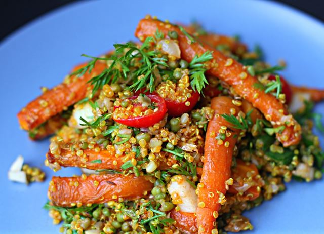 Roasted Carrot, Mung Bean, Quinoa and Tomato Salad